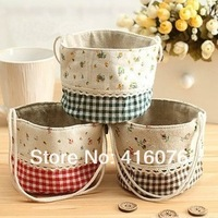 3pcs/lot Rural Style Flower Grid Design Sundries Organizer Basket Wall Hanging Pocket Nature Linen Cotton Tissue Bag S1021