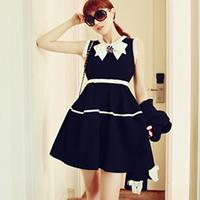 Elegant ol brooch fresh vintage bordered slim sleeveless dress one-piece dress
