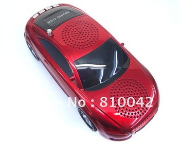 COOL MUSIC CAR!Portable Mini Speaker+Sound box for PC&Phone+Supports U-Disk&SD Card Inserting Music Play+FM Radio Free Shipping