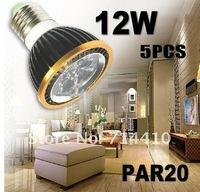 5pcs - High Quality LED Light PAR20 12W Spotlight CREE GU10 85-265V Dimmable Light lamps  Led Bulb Warm/Pure/Cool White