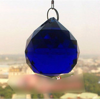 Blue Colour 2 PCS FENG SHUI CRYSTAL SPHERE PRISM MATERIAL GLASS 30MM DIAMETER HANDMADE
