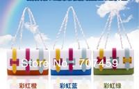 Free Shipping! Rainbow Colors Women's Chain Bag handbags candy color Patchwork H Button Shoulder Bag(Blue+Orange+Green)