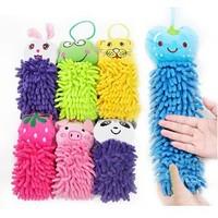 Microfiber Fabric Towel cartoon Hanging towel Cute animal cleaning towel children gift kids prize 5Pcs/lot  Wholesale