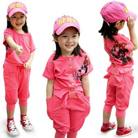 Girls summer clothing child baby casual sports short-sleeve T-shirt harem pants set reversible kk012