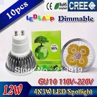 10X High power CREE GU10 4x3W 12W 85-265V Dimmable Light lamp Bulb LED Downlight Led Bulb Warm/Pure/Cool White