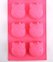 DIY Silicone Cake Chocolate Soap Mold hello kitty cat head Silicone bakeware mold 10pcs/lot Free shipping wholesale