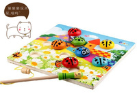Child puzzle wooden magnetic fishing toy animal beetle double rod 1 - 3 years old