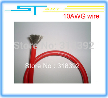 free shipping 1meter 1050/0.08 No.10  soft silica gel silicone line black 10AWG wire cable Resistance to high temperature line