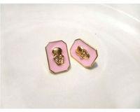 wholesale cute enamel pink rose black skull earrings stud earring 24pair / lot FREE SHIPPING