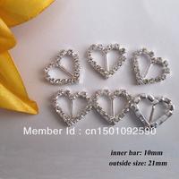 (CM11 10mm innner bar) 50 pcs Heart Crystal Diamante Rhinestone Buckle Invitation Ribbon Slider