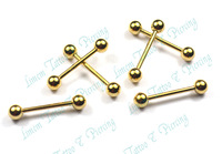 Free Shipping 10pcs/LOT 316L surgical steel gold color eyebrow ring stud banana bell gold plated bell button ring