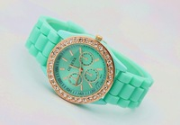 2pcs 2013 New Product luxury Fashion goods Lady brand GENEVA rose gold Diamond quartz Silicone Jelly watch for women  gift