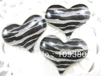 zebra-stripe heart shaped 30pcs/lot free shipping for phone hair decoration