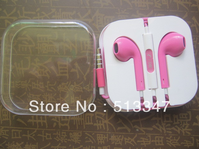 Colorful EarPods Stereo Earphone Headset with Mic+on/off For iPhone 5 5G Retail box,500pcs/lot(China (Mainland))