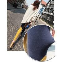 nz084-1wholesale 6 pcs female leisure cotton/yellow and mustard green irregular color twill color matching stitching ninth pants