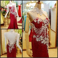 Ultimate luxury crystal formal dress formal dress toast the bride married formal dress evening dress xj0455
