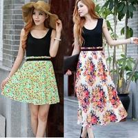 2013 summer bohemia fashion full dress patchwork chiffon sleeveless vest skirt one-piece dress beach dress
