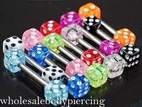 Free Shipping 100pcs/LOT Mixed Colors Dice Barbell Ring Bar Eyebrow Tragus Ear