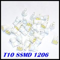 Free Shipping 10PCS White 8 SMD 1206/3020 T10 LED Wedge Car Lights Bulbs 912 921 Auto BULB