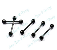 Free Shipping 50pcs/LOT 316L surgical steel black color barbell eyebrow rings belly button ring earrings piercing jewelry