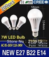 DHL / FEDEX Free Shipping 200PCS/Lot E27 B22 E14 7W 9w LED Lamp Bulb 85V-265V White Light Warm Light Energy Saving Bright