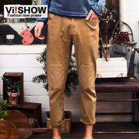 viishow casual pants men casual European style solid color straight men's casual pants khaki slacks trousers