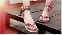 Free Shipping 2013 New Special Summer Sandal Clip Toe Low-heeled Bow Embroidery Waterproof Bohemian Casual Beach Shoes