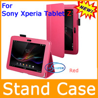 2013 New Arrival and Free Shipping Hottest RED Stand Case For Sony Xperia Tablet Z