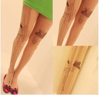 1PC cool design Machine Gun style Tattoo Print Pattern good quality Pantyhose Stockings Tights retail pack