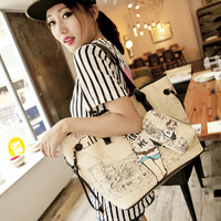 2013 women's handbag sweet gentlewomen cartoon print bag handbag messenger bag