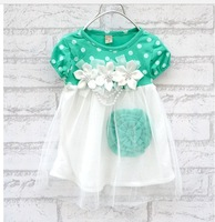 Retail 1pc 2013 summer New Children's clothing baby girls clothes kids tutu dress girl dress with flower Free Shipping(4pcs/lot)