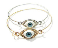 New Arrival!  Wholesale vintage simple gold & silver lucky evil eyes bangle bracelet, retro, antique jewelry, free shipping