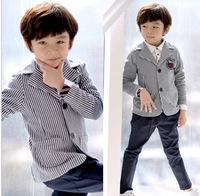 Free shipping-child clothing -100% cotton boy's striped casual  blazer