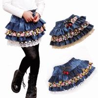 Female child bust children's clothing denim child cake short  baby puff legging outerwear 13