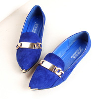 Fashion new arrival fashion metal fine chain pointed toe flat fashion vintage women's single shoes