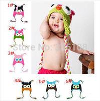 1 pcs Retail Cartoon Designs 100% Handmade Children knitted hat Various Animal Styles Baby Owl Beanie hat, free shipping
