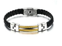 free shipping RJ 765 2013 fashion high quality  leather bracelet for man  male leather bracelet  titanium men bracelt