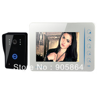 "Super Slim 7"" LCD Color Home Security Wired Video Door Phone Doorbell Intercom System, 4CH Video In, 1CH AV Out Free shipping"