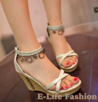Free Shipping 2013 new wedding platform high heel wedge sandals for women and women's summer shoes #R1389F