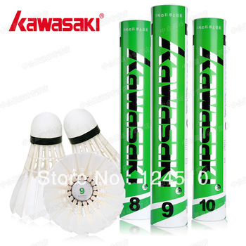 Free Shipping Wholesale  KAWASAKI NO.10 Durable Badminton Shuttlecock 1barrel/12pcs