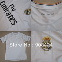 Hot Sell!Thail Quality 13/14 Real Madrid home white Soccer Jersey  Football Shirts Soccer Tops Soccer Wear Free shipping