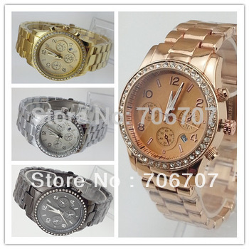 2013 NEW STYLE lady rose gold diamond Quart watch round stainless steel fashion with calendar for men women 4 color available(China (Mainland))