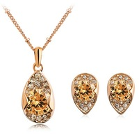PDRS-YG127,Italina Crystal Zircon Earrings Necklace Luxury Jewelry sets ,Nickel Free ,Wholesale ,Made with Austrian Crystal