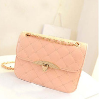 2013 New Korean Peach Heart Embroidered Handbag Diamond Lozenge Chain Bag Shoulder Bag Messenger Bag Hot Products