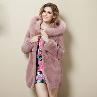 2013 Newest Women Fashion Real Rex Rabbit Fur Coat Lady Winter Warm Outwear Hooded Outerwear VK0521