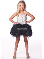 White and Black Beads Crystal Kids Dresses Feather Organza Ball Gown Girl Pageant Dresses F462