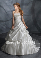 New Top Sale A-line Strapless Elastic Satin Appliques Beading Wedding Dresses Custom Size Free Shipping