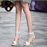 2013 xiaxin open toe sandals gladiator platform rhinestone open toe women's tassel high-heeled shoes