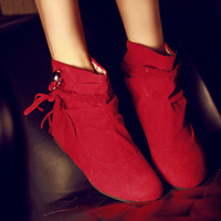 2012 autumn knitted tassel boots elevator belt casual low-heeled boots spring and autumn female