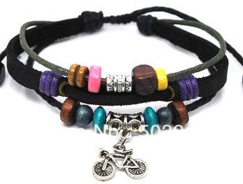 FREE Wholesale 36pcs ( 3 IN 1 ) Punk Gothic Handmade Bicycle Handmade Leather Bracelet Jewelry New Year Present Unisex FASHION